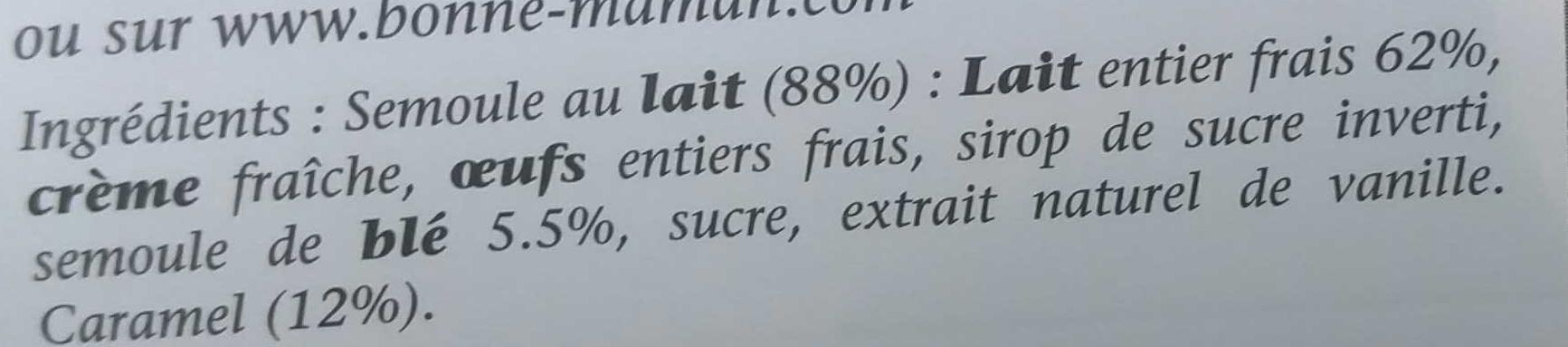 Semoule au Caramel - Ingrédients - fr