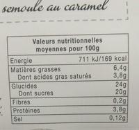 Semoule au Caramel - Informations nutritionnelles - fr