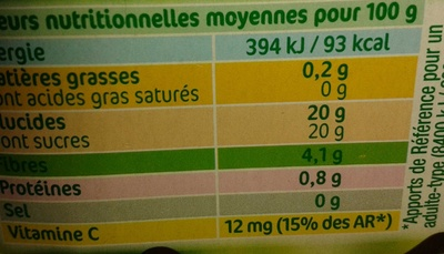 délice à la framboise - Nutrition facts
