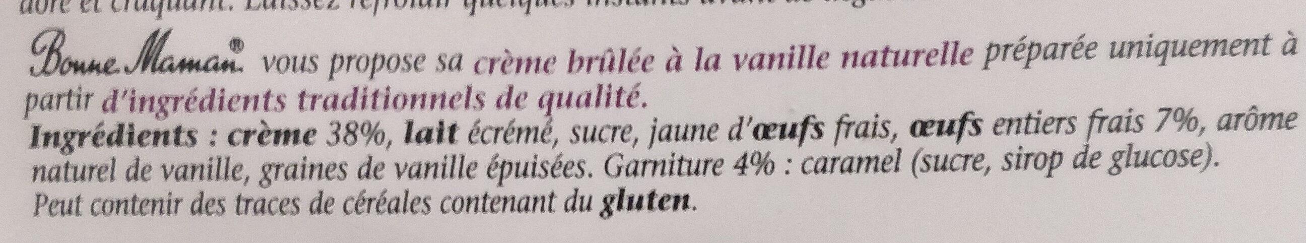 Crème brûlée aux œufs frais - Ingrediënten - fr