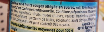 4 Fruits Rouges - Ingredients