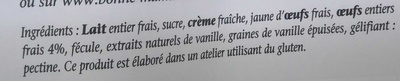 Crème à la vanille - Ingrédients