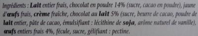 Crème au chocolat - Ingrédients - fr