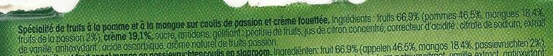 Liégeois de fruits  Pomme Mangue sur Coulis de Passion - Ingrédients - fr