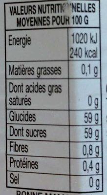 Confiture orange et mandarines - Informations nutritionnelles