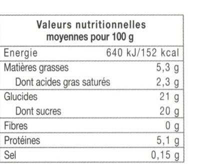 Flan pâtissier aux œufs frais - Informations nutritionnelles