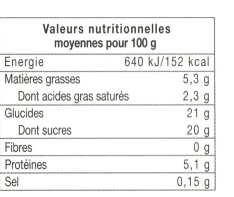 Flan patissier valeur nutritionnelle