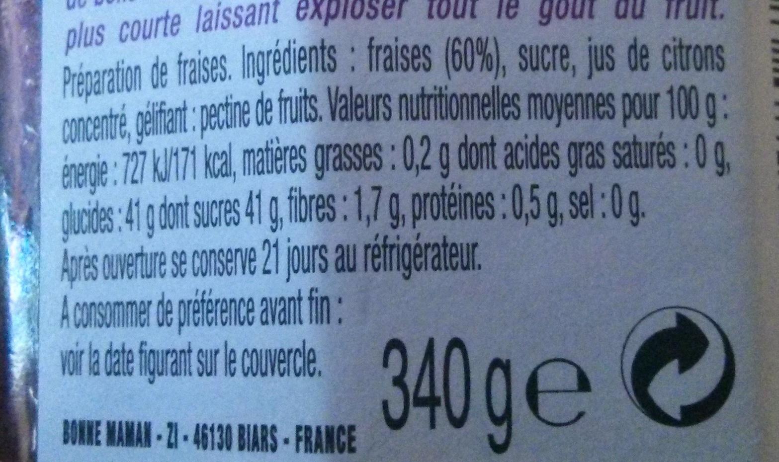 La Fraise Fruitée Intense - Ingredienti - fr