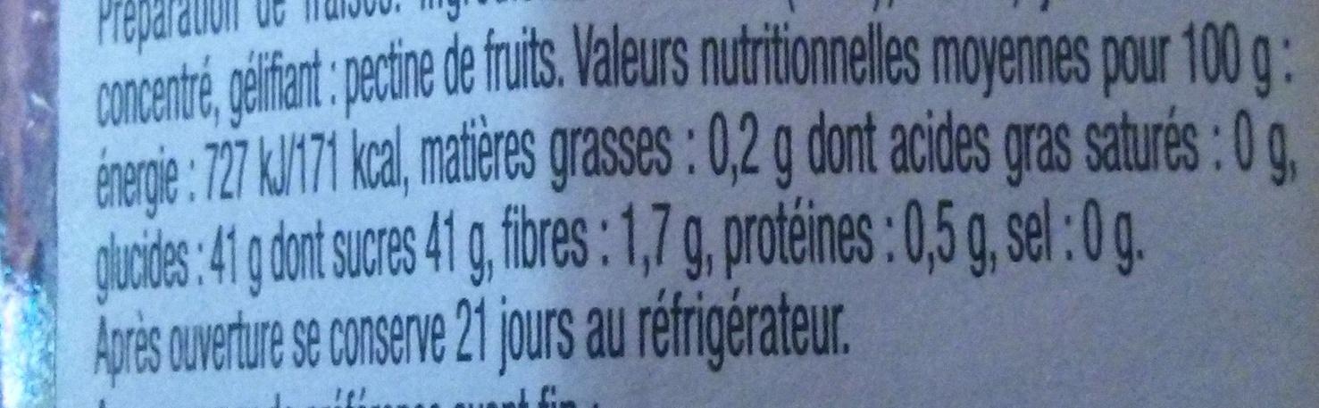 La Fraise Fruitée Intense - Valori nutrizionali - fr