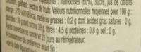 La Framboise Fruitée Intense - Valori nutrizionali - fr