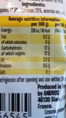 Fruit me up - Giá trị dinh dưỡng - fr