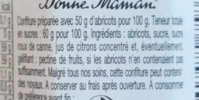 Confiture Abricots - Ingredienti - fr