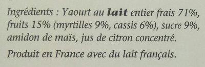 Yaourt crémeux Myrtille Cassis - Ingrédients - fr