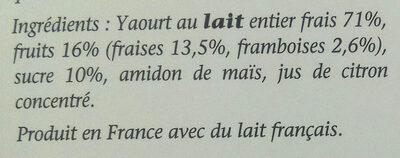 Yaourt crémeux fraise framboise - Ingrediënten