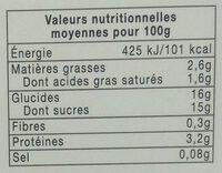 Yaourt crémeux fraise framboise - Voedigswaarden