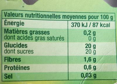 Délice de fraise - Informations nutritionnelles
