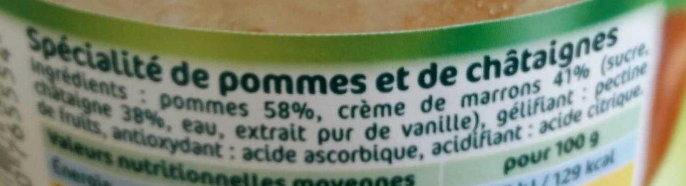 Compote pomme châtaigne - Ingredientes