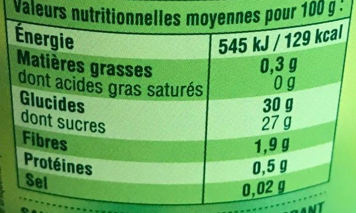 Compote pomme châtaigne - Informação nutricional