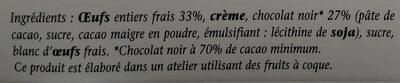 Mousse chocolat noir intense - Ingredients
