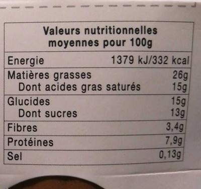 Mousse chocolat noir intense - Nutrition facts
