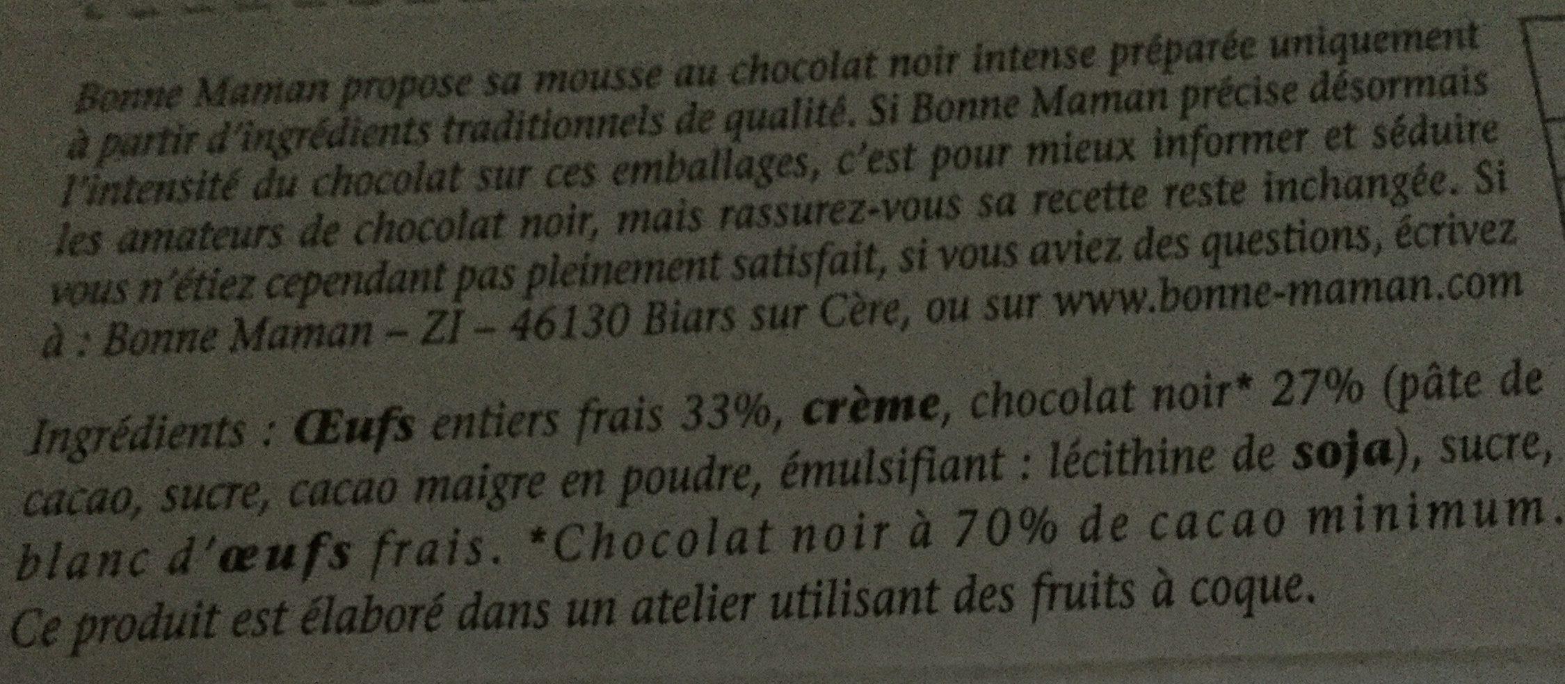 Bonne mamanMousse au chocolat aux œufs frais - Ingrédients - fr