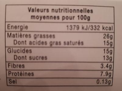 Mousse au chocolat aux œufs frais - Voedingswaarden
