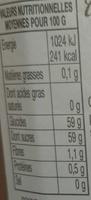 Confiture Abricots - Valori nutrizionali - fr