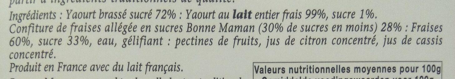 Yaourt a la confiture (fraises) - Ingredients