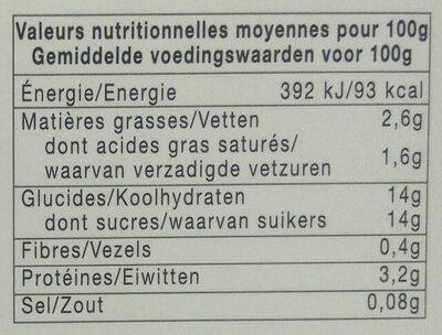 Yaourt a la confiture (fraises) - Informazioni nutrizionali