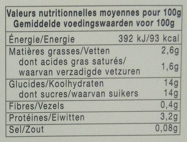 Yaourt a la confiture (fraises) - Nutrition facts