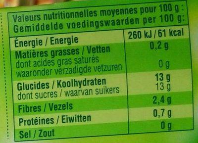 Pomme Banane sans sucres ajoutés - Nutrition facts - fr