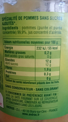 Compote Pomme Nature - Nutrition facts