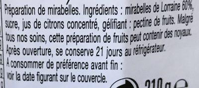 Mirabelles de Lorraine - Ingredienti - fr