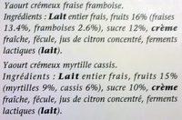 Yaourt crémeux fraise framboise myrtille cassis - Ingrédients