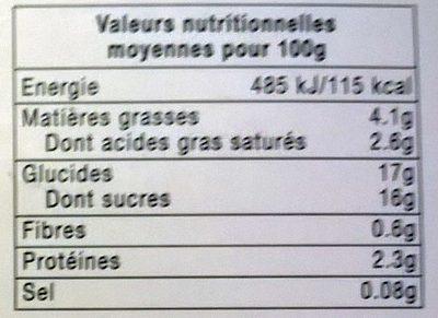Yaourt crémeux fraise framboise myrtille cassis - Informations nutritionnelles