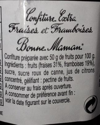 Confiture Bonne Maman Fraises et Framboises - المكونات - fr