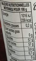 Confiture de Framboises - Valori nutrizionali - fr