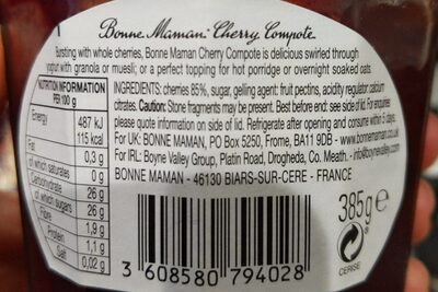 Cherry Compote - Nutrition facts