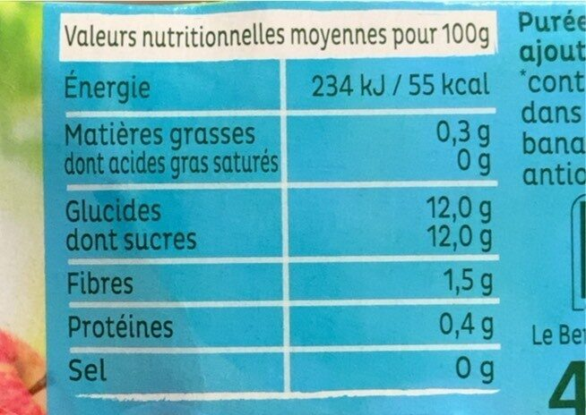 Compote pomme banane - Nutrition facts - fr