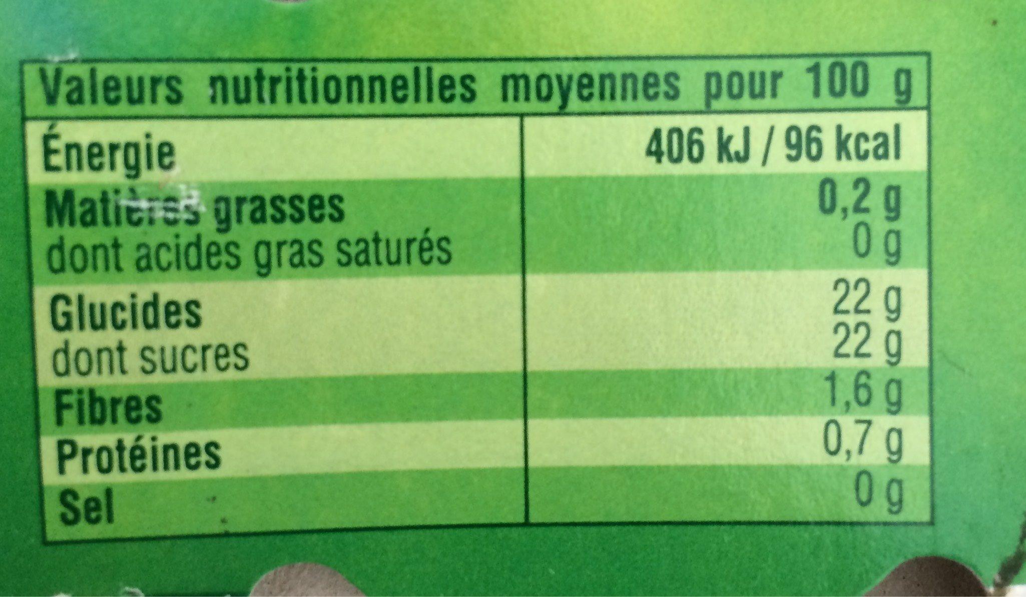 Abricot Morceaux Moelleux - Nutrition facts