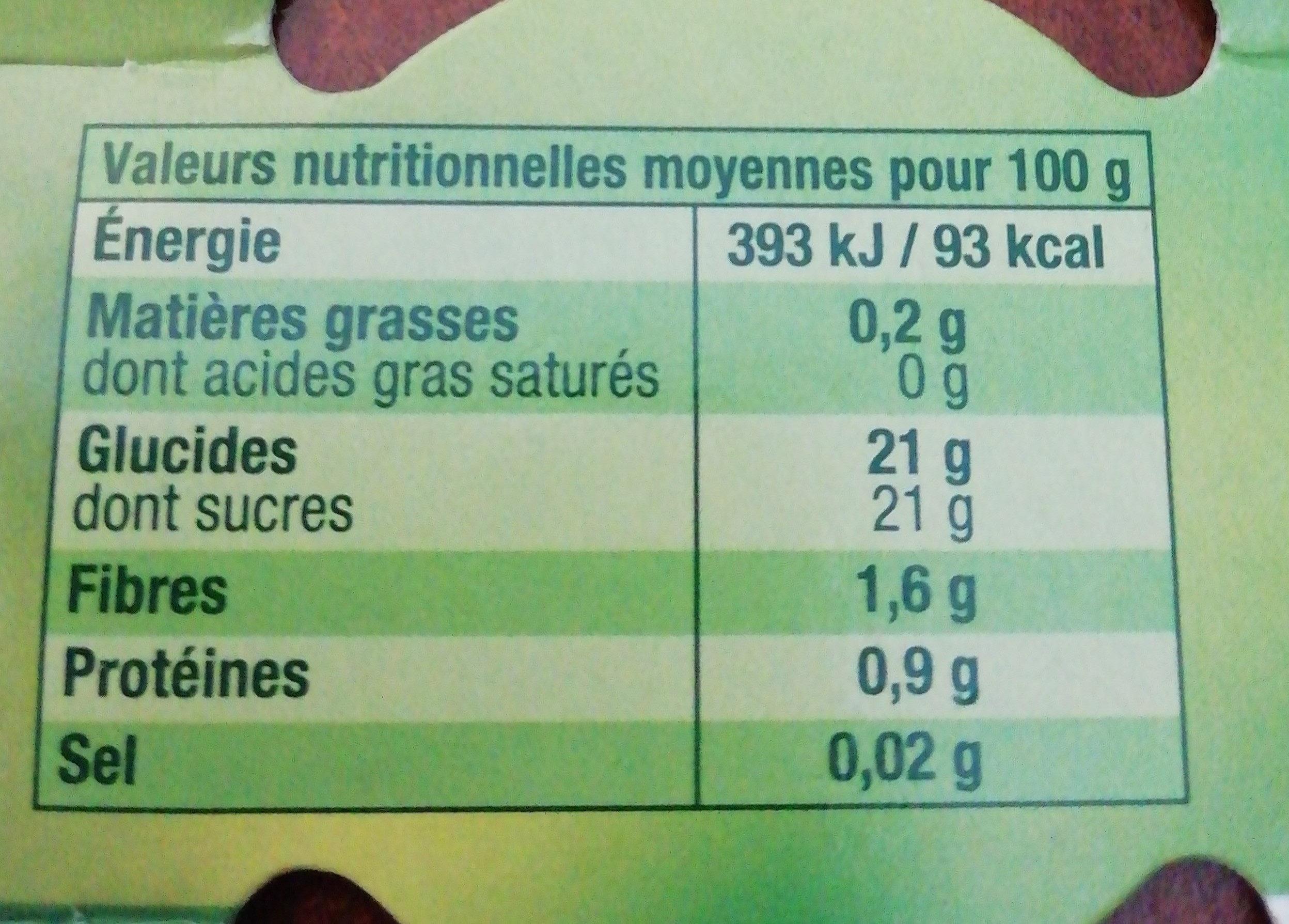 Délice en morceaux cerise - Informations nutritionnelles