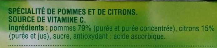Dessert Fruitier - Pomme Citron - Ingredients
