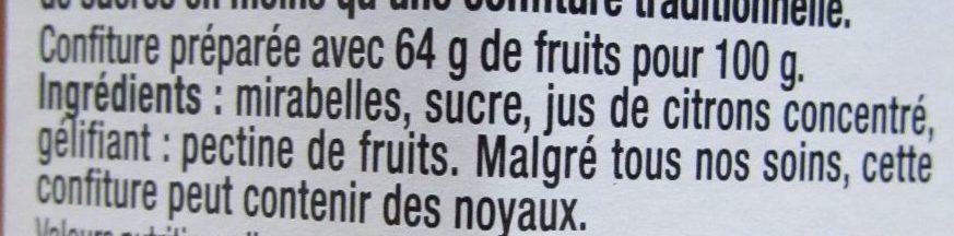 Mirabelle intense - Ingredienti - fr