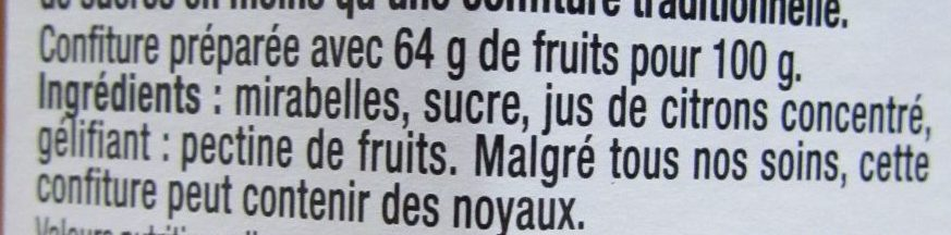 Mirabelle INTENSE - Ingredients