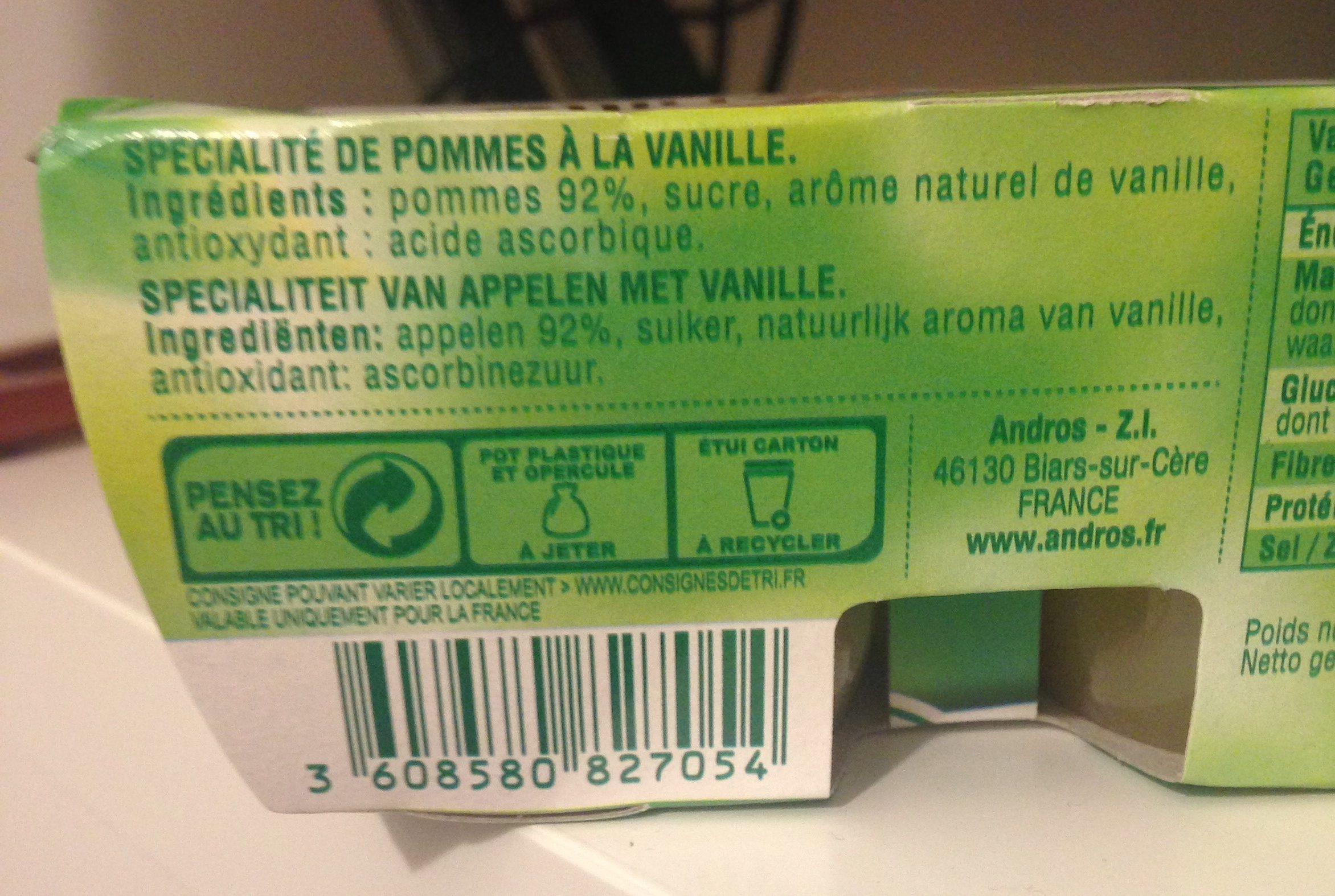 Dessert pomme vanille - Ingrédients