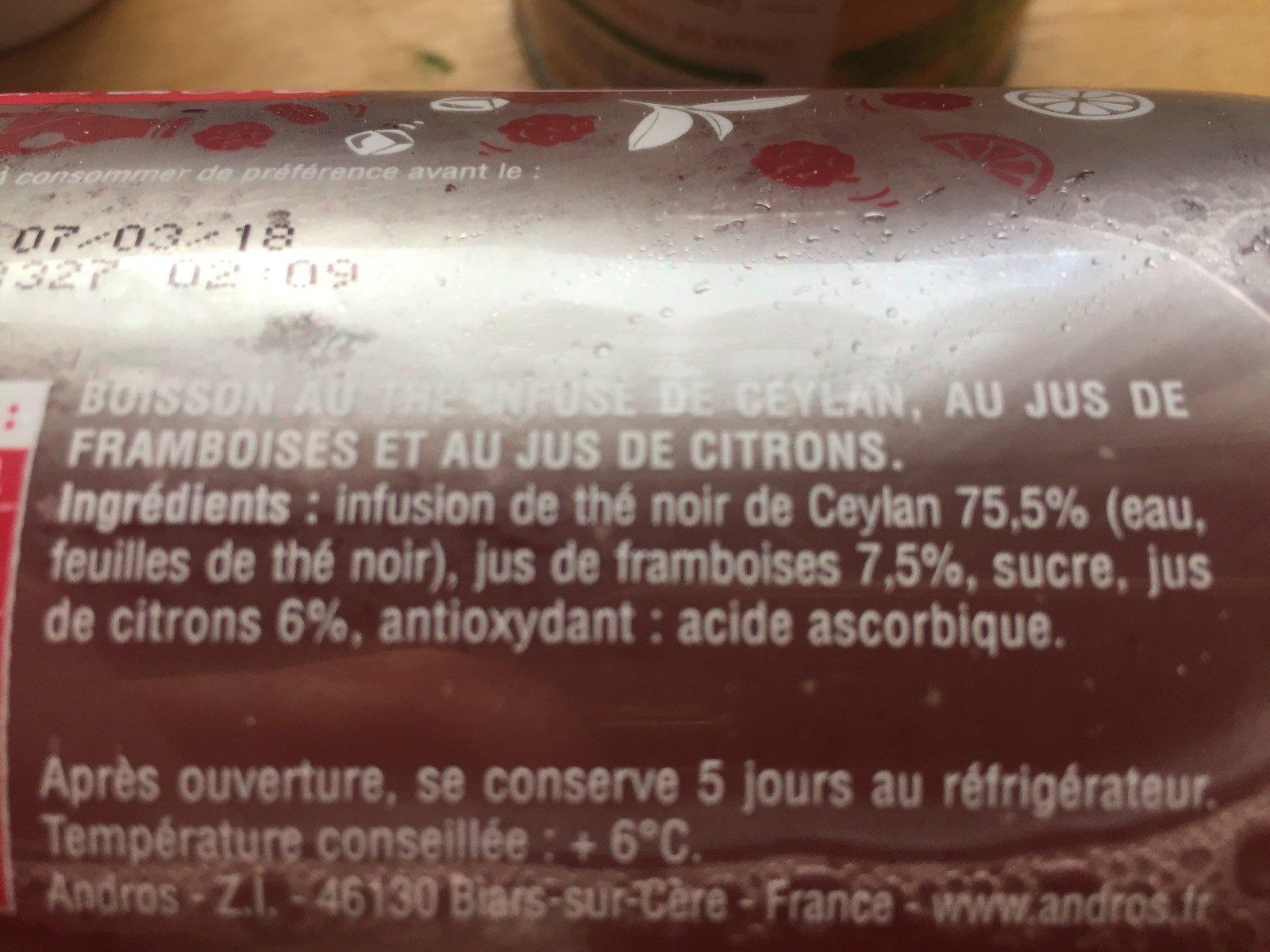 Thé infusé - Framboise & Touche de Citron - Ingredients