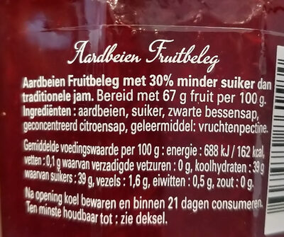 Bonne maman aardbeien meer fruit minder suiker - Ingrediënten - nl