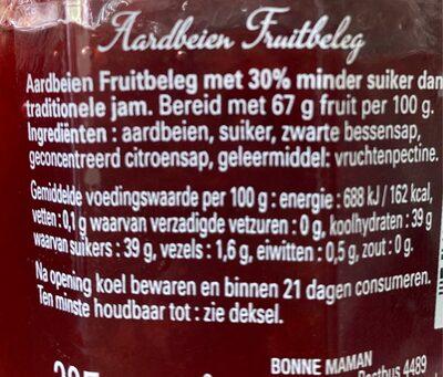Bonne maman aardbeien meer fruit minder suiker - Voedingswaarden - nl