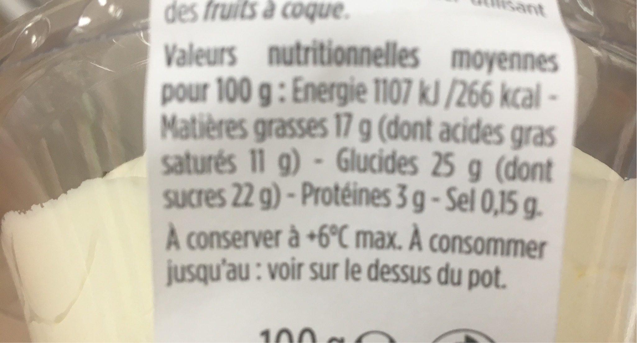 St honore et son chou vanille - Informations nutritionnelles - fr