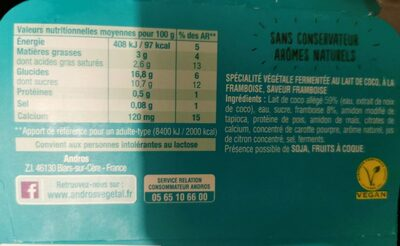Gourmand & Végétal Cassis-Framboise - Informations nutritionnelles - fr